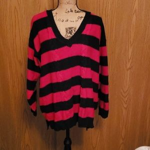 Red and black vneck sweater. 3x